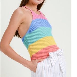 🍭Rainbow color Blocked knitted sweater top 🍭